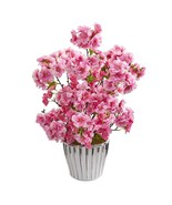 "19"" Cherry Blossom Artificial Arrangement in White Vase with Silver Trim... - £53.24 GBP"