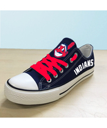 Cleveland Indians shoes womens Indians sneakers blue baseball fashion fa... - $65.00
