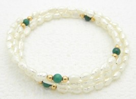 VTG FRESHWATER PEARLS & Malachite Gemstone Adjustable Expandable Bracelet image 1
