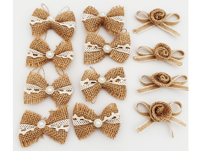 Brown Burlap Bows with Lace and Pearl Centers