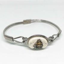 Scrimshaw Style Tall Sailing Ship Bracelet Vtg - $24.74
