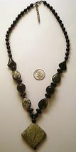Beaded necklace semiprecious beads Onxy, Yellow Turquoise, Jasper beads ... - $2.95