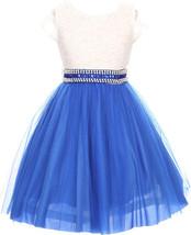 Flower Girl Dress Mesh Skirt with Pearl & Stone Belt Royal JKS 2045 - $27.71+