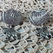 VINTAGE STERLING SILVER NOAH'S ARK ELEPHANT EARRINGS PIERCED - $24.50