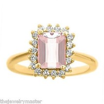 MORGANITE & DIAMOND HALO ENGAGEMENT RING EMERALD CUT 8x6mm YELLOW GOLD 1... - €1.108,02 EUR