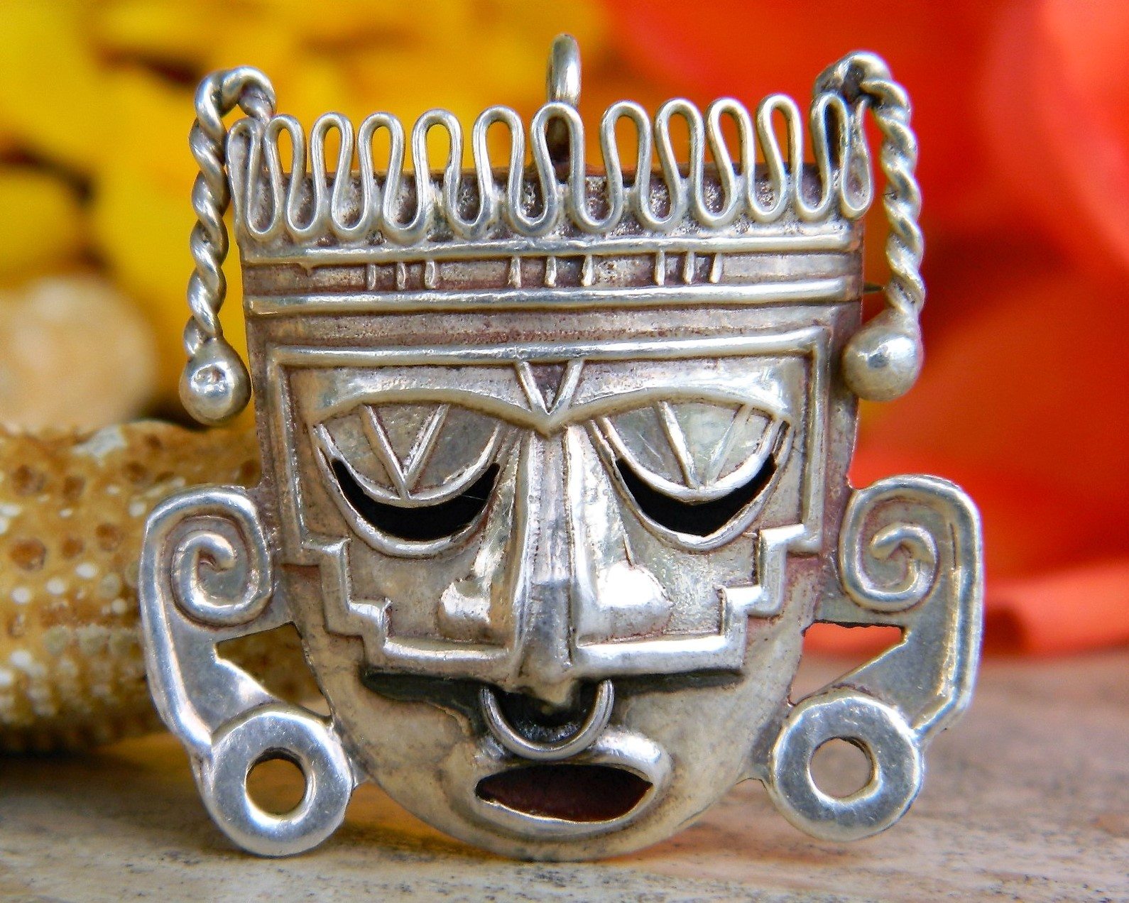 Mexican sterling silver aztec mayan mask pin brooch pendant eagle 28