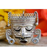 Mexican Sterling Silver Aztec Mayan Mask Brooch Pin Pendant Eagle 28 - $59.95