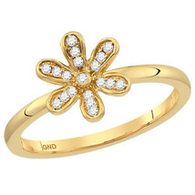 10kt Yellow Gold Womens Round Diamond Floral Stackable Band Ring 1/10 Cttw - £127.69 GBP