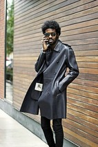 Men Leather Coat Winter Long Leather Coat Genuine Real Leather Trench COAT-UK23 - $214.46