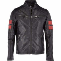 New Men Genuine Leather Jacket Black Retro Slim Fit Biker Motorcycle jacket - $69.29+