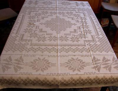 Square JACQUARD WOVEN NATURAL TABLECLOTH Off White Beige Geometric Floral 60x62