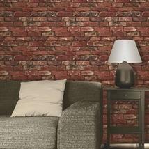 Brewster FD31285 Rustic Brick Wallpaper - Red  - $19.00