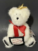 """Boyds Bears Razz Bearies Queenie Jointed Plush 6"""" White Sitting Gold Crown  - $11.30"""