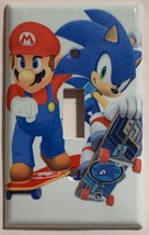 Mario Sonic Games Skateboard Light Switch outlet Wall Cover Plate Home decor image 1