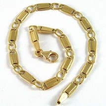 18K YELLOW GOLD BRACELET FLAT ALTERNATE GOURMETTE 4 MM OVAL LINK, MADE IN ITALY image 1