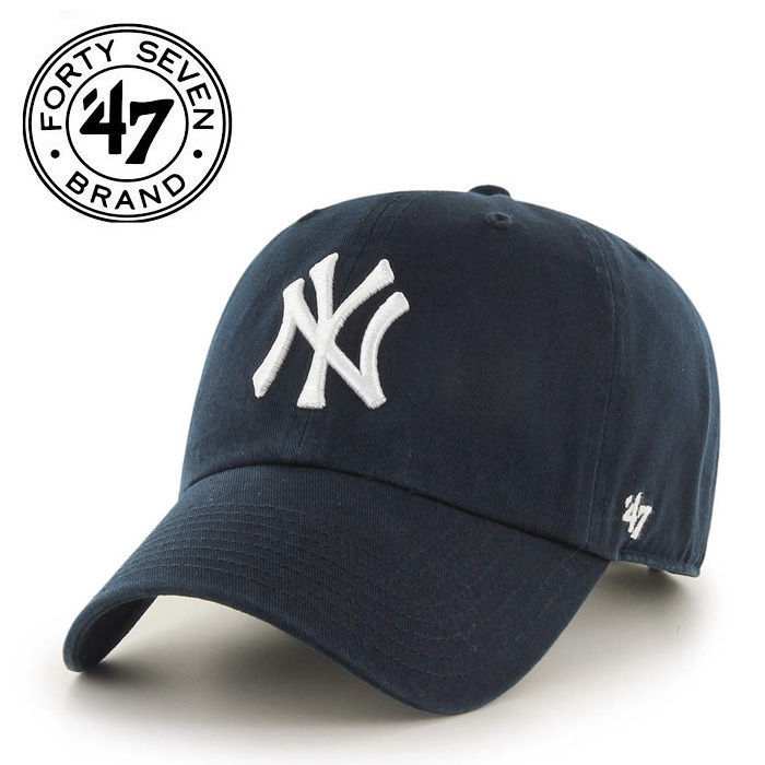 MLB New York Yankees '47 Brand Navy Basic Logo Clean Up Home Adjustable Hat