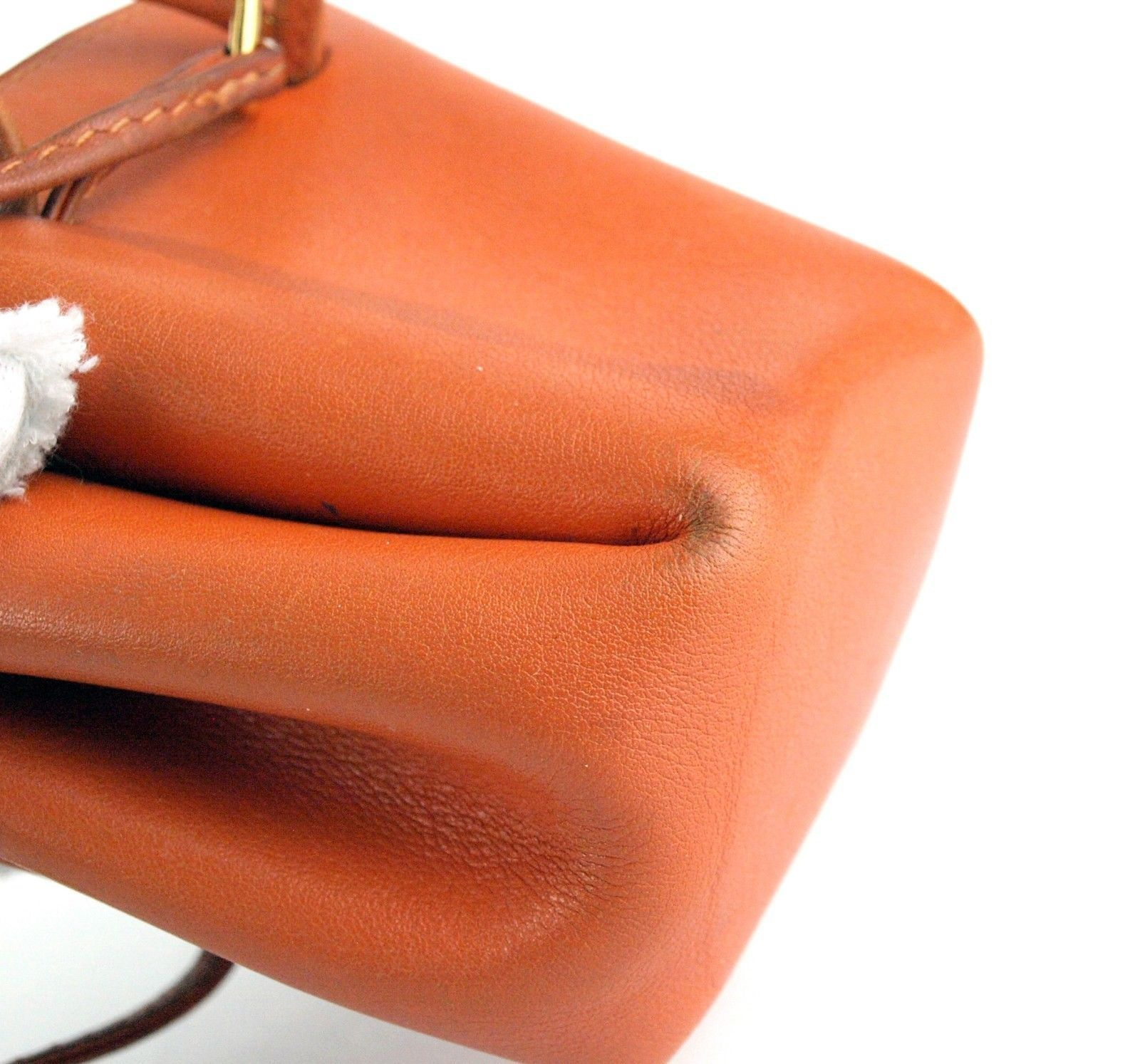 Authentic HERMES Paris Orange Leather Tiny Cosmetic Pouch Wristlet Purse France image 6