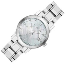 100% NEW Swiss Made Burberry Diamond Accent Stainless Steel Ladies Watch BU9125 - $356.40