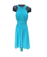 Max Cleo Penia Sleeveless Turquoise Asymmetrical Polyester Dress Womens ... - $19.77