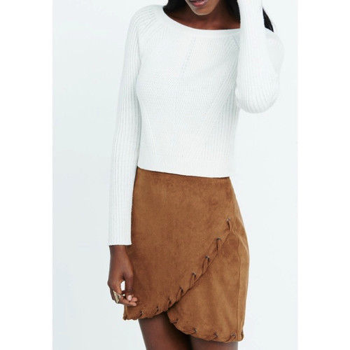 NWT Express Brown Faux Suede Laced Hem Grommet Wrap Mini Skirt M