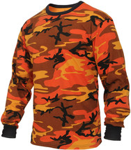 Mens Savage Orange Camouflage Long Sleeve Tactical Military T-Shirt - $13.99+