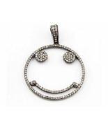 Royal Vintage Reproduction 2.12Ct. Rose Cut Diamond Silver Smiley Pendan... - $246.45