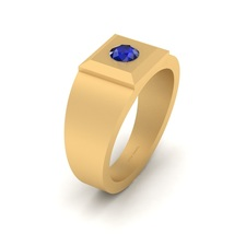 Solid 10k Yellow Gold Wedding Anniversary Band Blue Sapphire Solitaire R... - $969.99