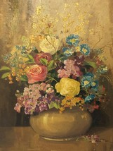 19th Century Oil Painting Still Life Flowers Chrysanthemums Signed John ... - $1,846.46
