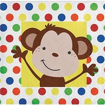 Creative converting Party Monkey Fun Beverage Napkins 16 count (5 x 5) - $1.57