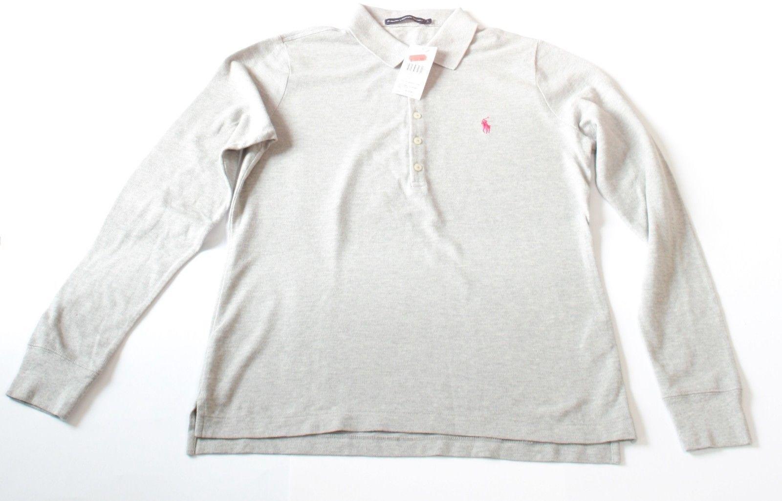 Mujer Ralph Lauren Gris Manga Larga Polo 100% Cotton Talla L