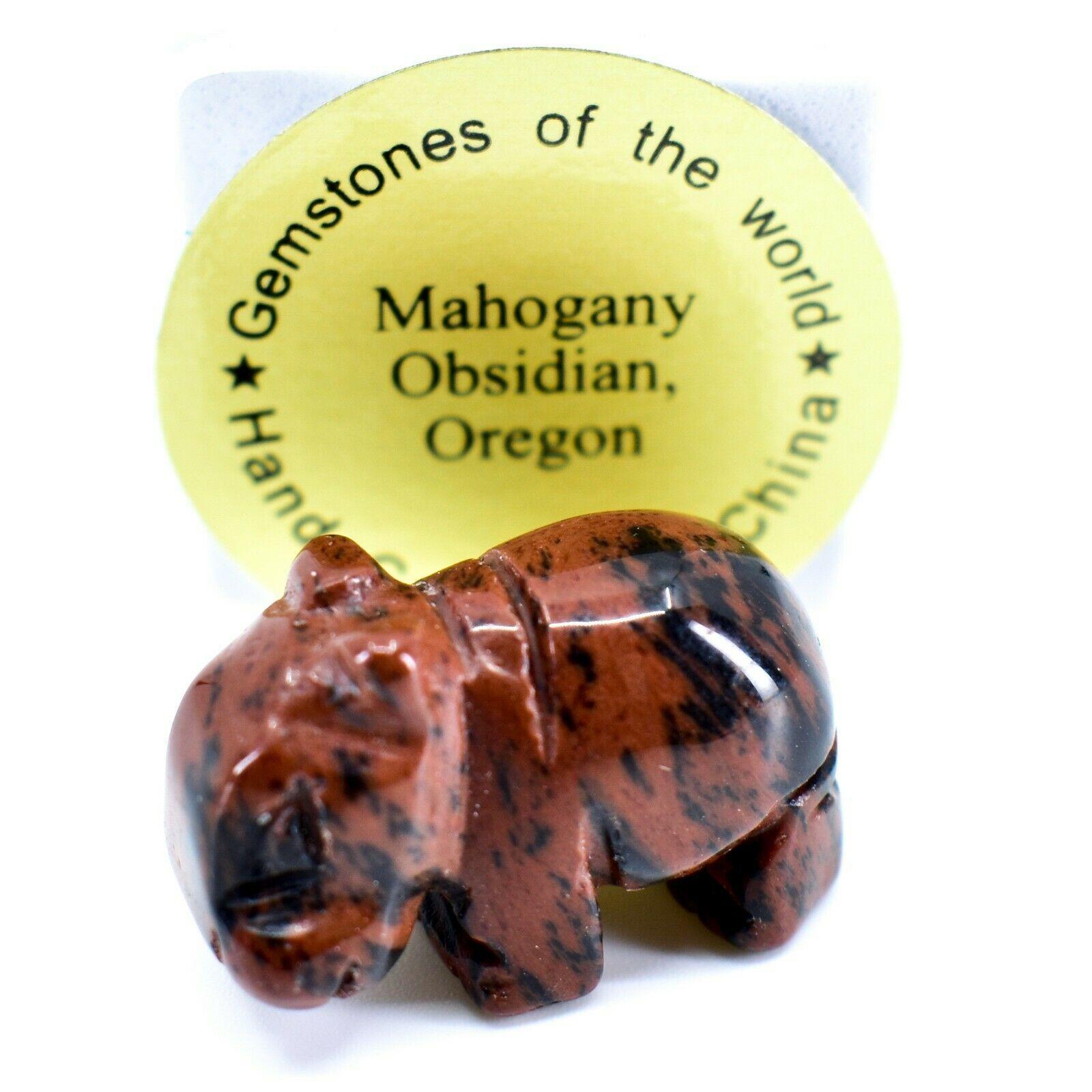 Mahogany Obsidian Gemstone Tiny Miniature Hippo Figurine Hand Carved in China