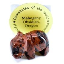 Mahogany Obsidian Gemstone Tiny Miniature Hippo Figurine Hand Carved in China image 1