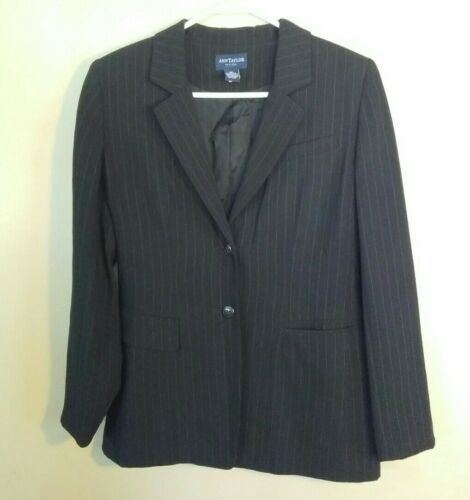 Primary image for Ann Taylor Petites Womens Size 8P Black Pinstriped Blazer Suit Jacket