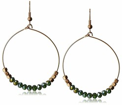 "USA Made Gemelli Gold Plated Green Crystal Glitter 1.5"" Hoop Earrings NWT"