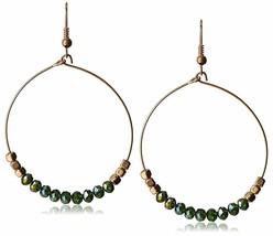 "USA Made Gemelli Gold Plated Green Crystal Glitter 1.5"" Hoop Earrings NWT image 1"