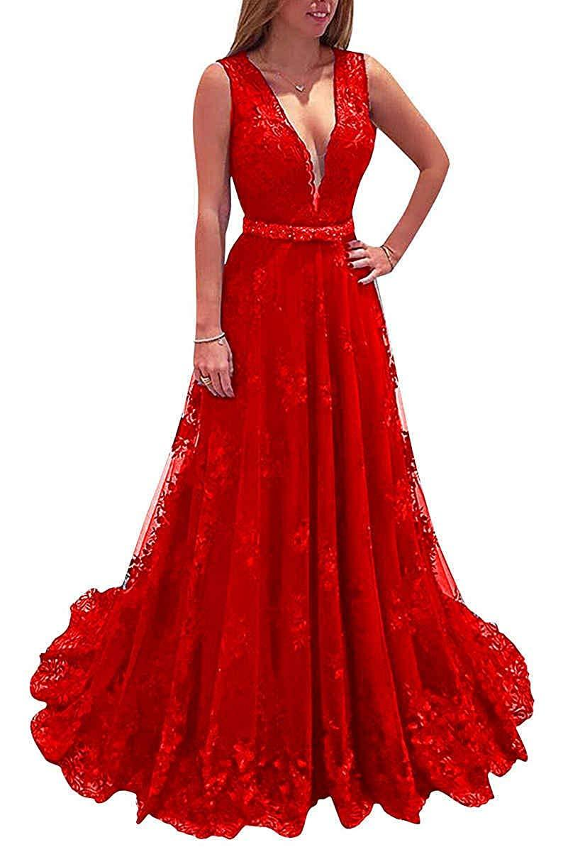 V Neck Lace Prom Dresses A-Line Long Beaded Formal Evening Dress Party Ball Gown