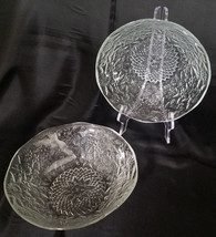Vtg Indiana Glass Clear Pineapple & Floral Serving Bowls, Set of 2 (circ... - $22.50