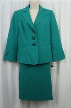 Le Suit Skirt Suit Sz 10 New Jade Green Business Career Dinner 2 PC Skir... - $79.17