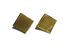 Vintage Napier Gold Tone Square Textured Screw Back Earrings - $15.85