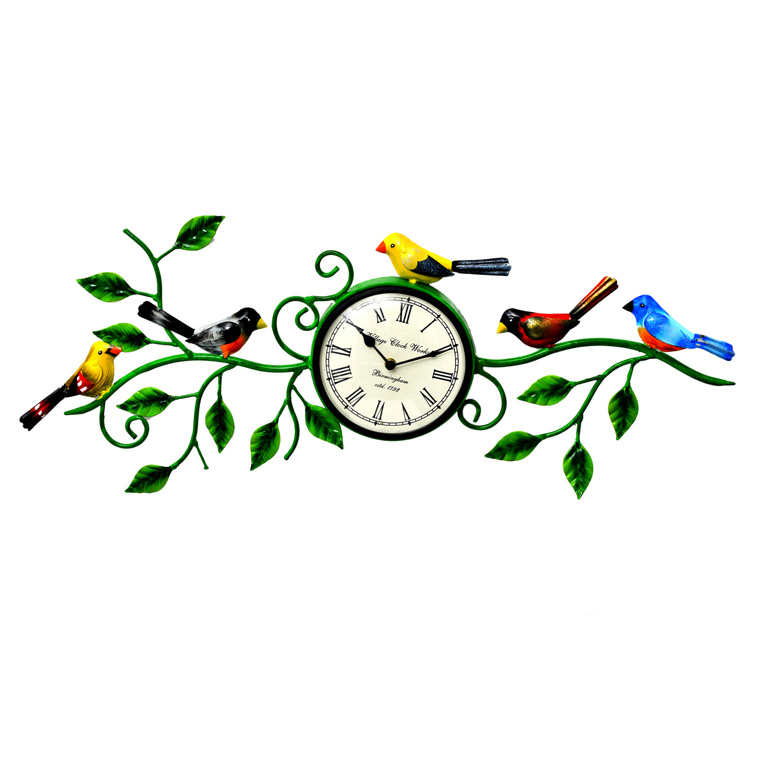 Decorative Two Birds Wall Clock with flower
