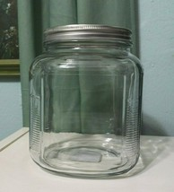 Anchor Hocking Glass Canister Cookie Candy Jar Storage vintage style met... - $28.02