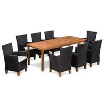 vidaXL Solid Wooden Outdoor Dining Set Poly Rattan Patio Garden 5/7/9 Pi... - $377.99+