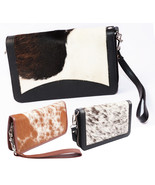 Cowhide Leather Handmade Pack of 3 Wristlet Zipper Clutch Organizer Ladi... - $120.00