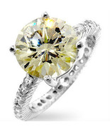 HCJ STERLING SILVER 3.5 CT. YELLOW CITRINE CZ ENGAGEMENT RING SIZE 7 - $24.49