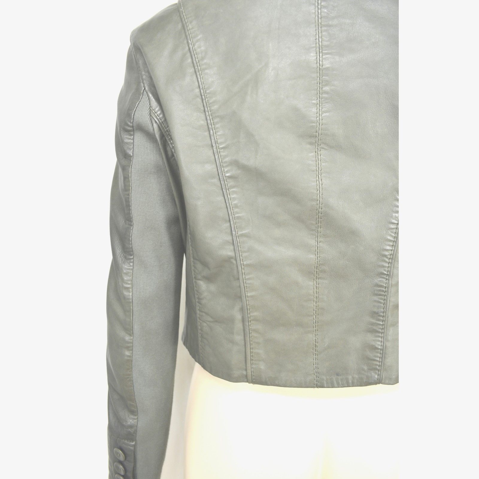 MUUBAA lambskin soft leather jacket SZ 8 Moss Army Gray asymmetric buttoned image 5