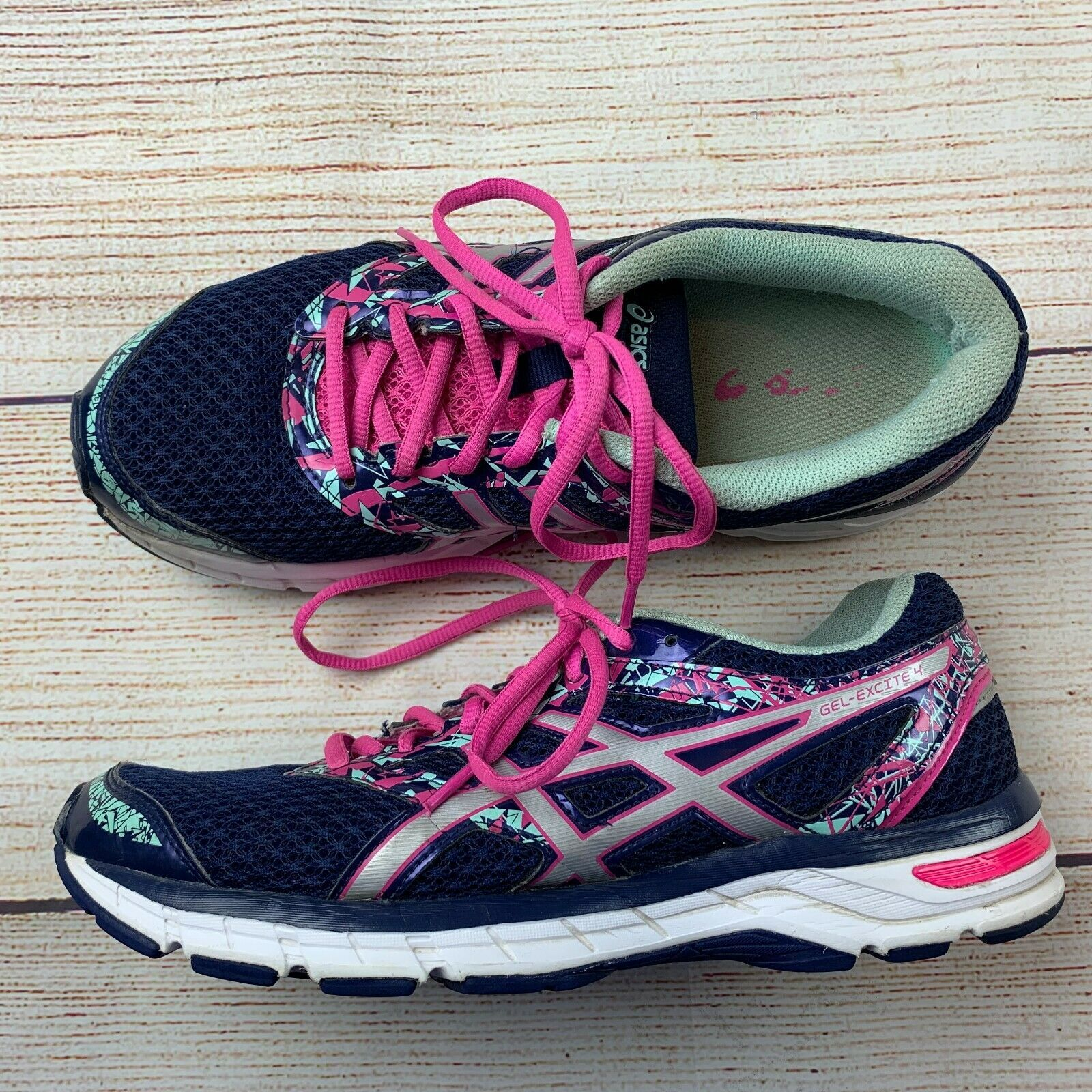 Asics womens Gel Excite 4 Navy Pink Running Shoes Sneakers 10/ 42 EUC image 2