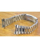 20mm Curved President Style Silver Tone Stainless Metal Watch Band Bracelet - $17.10
