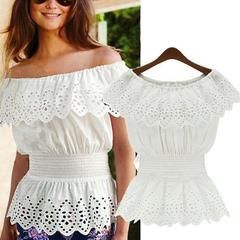 Primary image for 2020 Celmia Women Sexy Off Shoulder Blouse Lace Peplum Shirt Summer Top Slash Ne
