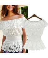 2020 Celmia Women Sexy Off Shoulder Blouse Lace Peplum Shirt Summer Top ... - $40.55