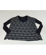 Jessica Simpson Womens Black Blouse Gray Top Size Small Striped Long Sle... - $12.19